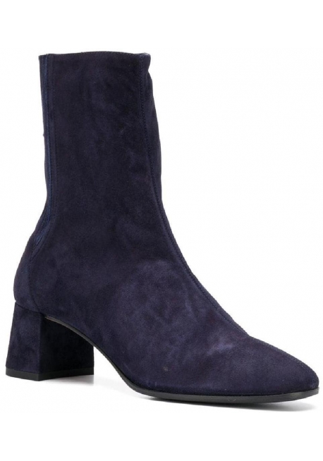 Aquazzura Women's square heeled ankle boots in Medium Blue Suede leather