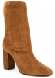 Aquazzura Women's mid-calf square heeled booties in Light Brown Suede leather