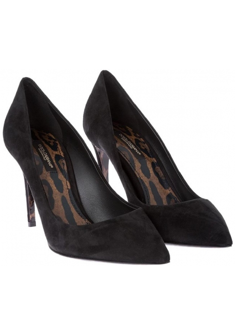 Dolce&Gabbana Women's high heel stiletto classic pumps in black Suede leather