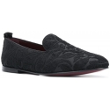 Dolce&Gabbana Men's moccasins in black printed Velvet fabric with leather sole