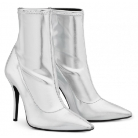 Zanotti Women's mid-calf stiletto booties in silver Soft leather