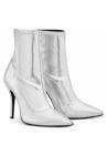 Zanotti Women's mid-calf stiletto booties in silver Soft leather