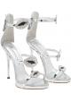 Giuseppe Zanotti Women's stiletto sandals in silver Leather with rhinestones