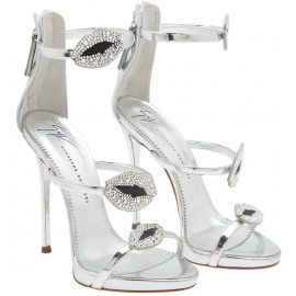 Giuseppe Zanotti Women's stiletto sandals in silver Leather with rhinestones