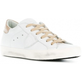 Philippe Model Women's lace-up low top sneakers shoes in off white Leather
