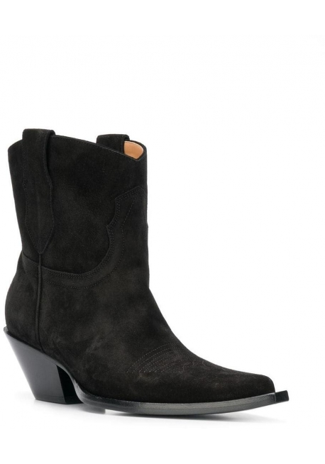 Maison Margiela Women's mid-calf western booties in black Suede leather