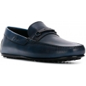Tod's Men's round toe slip-on bit loafers in blue Leather made in Italy