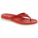 Prada Women's slip-on flip flops in bright red glossy paint and leather