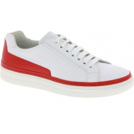 Prada Men's low top lace-up sneakers shoes in white and red calf leather