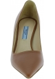 Prada Women's pointed toe classic pumps shoes in hazel shiny calf leather