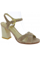 Stuart Weitzman Women's high square heel sandals in beige Suede leather