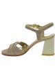 Stuart Weitzman Women's high square heel sandals in beige Suede leather