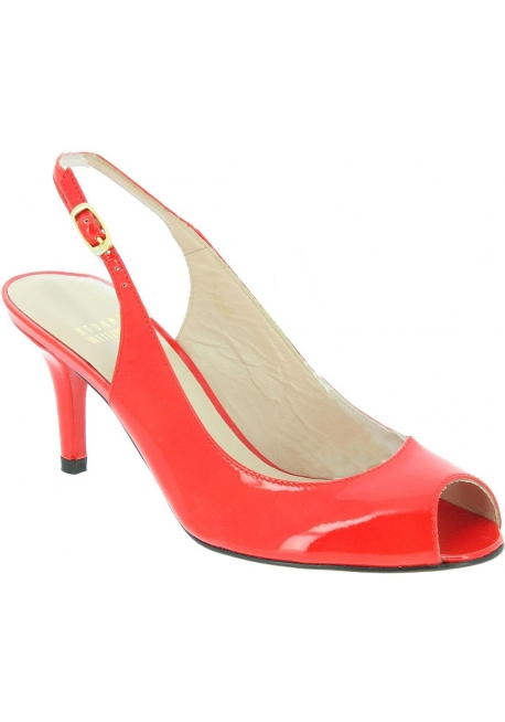 Stuart Weitzman Women's open toe stiletto sandals in bright red patent leather