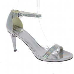 Stuart Weitzman Women's high heel sandals in silver Laminated calf leather