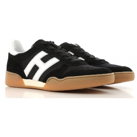 Hogan men's low top sneakers in black leather and fabric