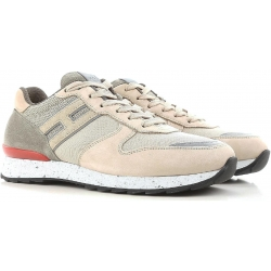 Hogan men's low top sneakers shoes in beige leather