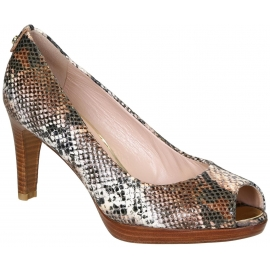 Stuart Weitzman pumps open toe in brown python skin
