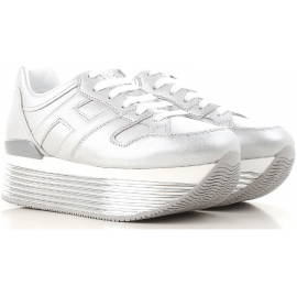 Hogan wedges sneakers shoes in silver metallic leather