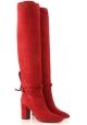 Aquazzura MILANO BOOT 85 woman's red knee high boots with block heel