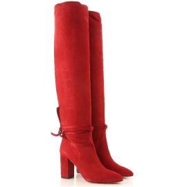 Aquazzura MILANO BOOT 85 woman's red knee high boots with block heel