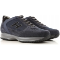 Hogan interactive men's sneakers in blue suede and fabric