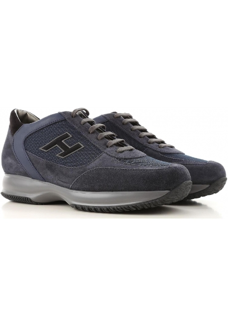 c893e219db6 Hogan interactive men's sneakers in blue suede and fabric - Italian ...