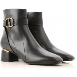 Tod's CUOIO GOM women's booties in black leather and low heel