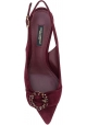 Dolce&Gabbana Women's kitten heels jewelled pumps in burgundy Suede leather