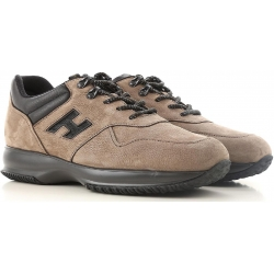 Hogan INTERACTIVE men's sneakers in light brown nabuk leather