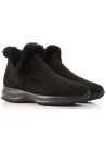 Hogan INTERACTIVE SLIPON women's black suede booties with fur