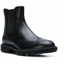 Tod's Men's round toe low boots shoes in black Shiny leather with brogue