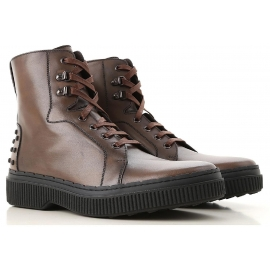 Tod's NUOVO STIVALETTO men's boots in brown leather with laces