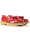 Tod's GOMMA PARA women's tassel loafer in red patent leather with high sole