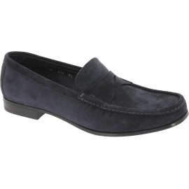 Prada Men's slip-on round toe loafers in blue suede leather with leather sole