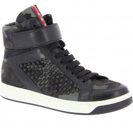 Prada Women's high top studded sneakers in Camouflage color Leather Fabric