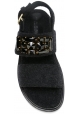 Marni Women's flat sandals with rhinestones and buckle in Anthracite Fabric