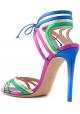 Casadei Women's high stiletto sandals in Multi-Color laminated calf leather