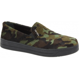 Prada Women's fashion slip-on laceless shoes in camouflage color calf hair