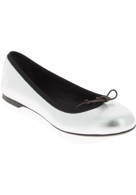 Saint Laurent Women's slip-on ballet flats in silver laminated calf leather