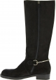 Gucci Women's knee high fashion boots shoes in black suede leather with zip