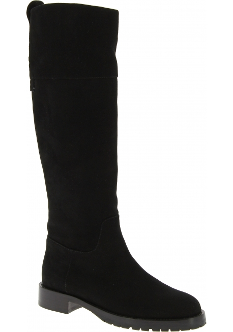 Dolce&Gabbana Women's knee high fashion boots shoes in black suede leather