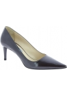 Prada Women's pointed toe classic pumps in shiny dark grey patent leather