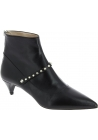 Miu Miu Women's pointed toe triangle heeled ankle boots in black kid leather