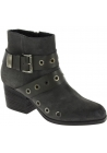 Vic Matié Women's ankle studded heeled boots in dark gray nubuk leather