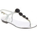 Barbara Bui Women's flat sandals with crystals in silver laminated leather