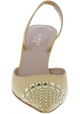 Gucci Women's heels slingback pumps with pointed studs in beige Calf leather