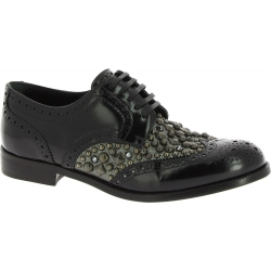 Dolce&Gabbana Women's lace-ups studded shoes in black Shiny calf leather