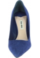 Miu Miu Women's fashion high stiletto pointed toe pumps in blue suede leather