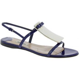 Miu Miu Women's open toe flat sandals with buckle in blue Patent Leather