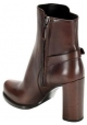 Prada Women's square heeled half calf boots with buckle in brown calf leather